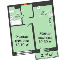 1 комнатная квартира 41,19 м² в ЖК Речной порт, дом № 6 - планировка