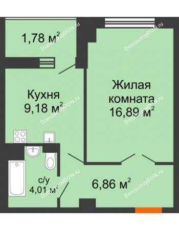 1 комнатная квартира 40,59 м² в ЖК Университетский 137, дом Секция С1