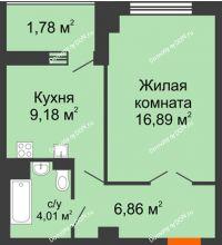 1 комнатная квартира 40,59 м² в ЖК Университетский 137, дом Секция С1 - планировка