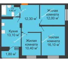 3 комнатная квартира 70,3 м² в ЖК Вересаево, дом Литер 12/1 - планировка