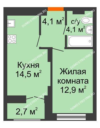 1 комнатная квартира 36,95 м² в ЖК Заречье, дом № 1, секция 1