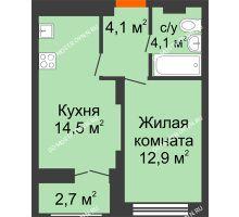 1 комнатная квартира 36,95 м² в ЖК Заречье, дом № 1 - планировка