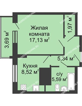 1 комнатная квартира 40,4 м² - ЖК Гелиос