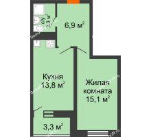 1 комнатная квартира 41,1 м² в ЖК Звезда Столицы, дом Литер 4 - планировка