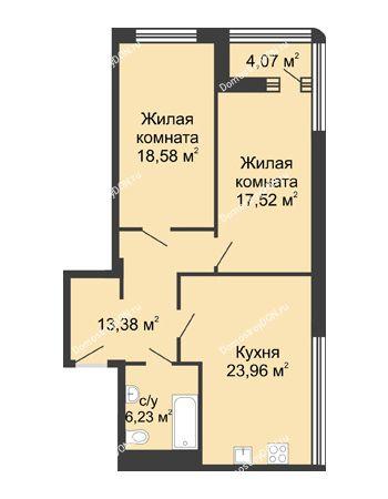2 комнатная квартира 83,7 м² - ЖК Бристоль
