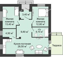 2 комнатная квартира 78 м² в КП Green Park (Грин Парк), дом коттедж 78.0 м² - планировка