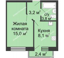 1 комнатная квартира 30,8 м² в ЖК Окский берег, дом №1, Индустриальная улица - планировка