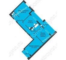 3 комнатная квартира 116,49 м² в ЖК Воскресенская слобода, дом №1 - планировка