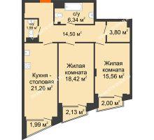 2 комнатная квартира 83,85 м², Клубный дом на Ярославской - планировка