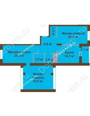 3 комнатная квартира 101,5 м² в ЖК Монолит, дом № 89, корп. 1, 2