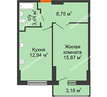 1 комнатная квартира 42,61 м², ЖК Орбита - планировка