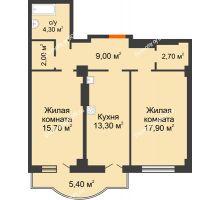 2 комнатная квартира 70,3 м² в ЖК Парк Островского 2, дом № 2 - планировка