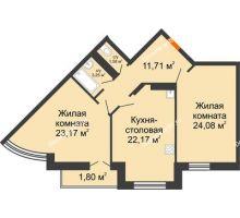 2 комнатная квартира 87,76 м² в ЖК Соборный, дом № 1 - планировка