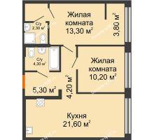 2 комнатная квартира 66,5 м² в ЖК Речной порт, дом № 6 - планировка