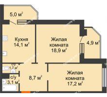 2 комнатная квартира 73,6 м² в ЖК Острова, дом 4 этап (второе пятно застройки) - планировка