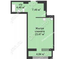 Студия 37,83 м² в ЖК Караваиха, дом № 5 - планировка