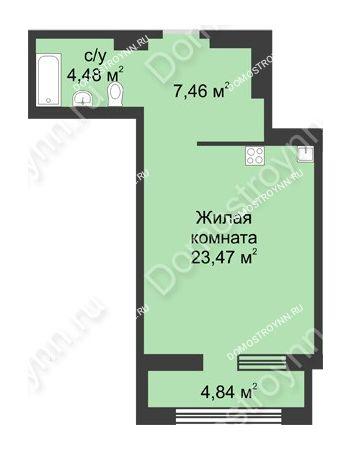 Студия 37,83 м² в ЖК Караваиха, дом № 5