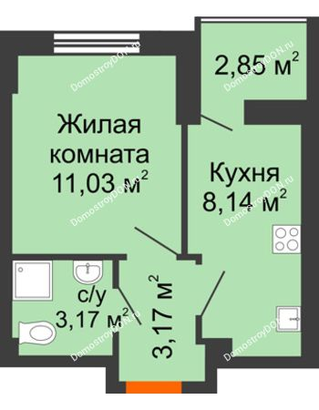 1 комнатная квартира 26,94 м² в ЖК Аврора, дом № 3