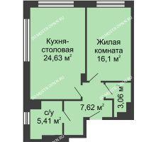 1 комнатная квартира 56,92 м² в ЖК TRINITY (Тринити), дом № 1 - планировка