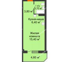 Студия 33,9 м² в ЖК Три Сквера (3 Сквера), дом № 31 - планировка