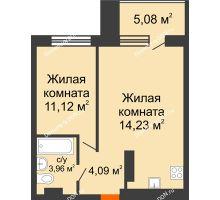 2 комнатная квартира 43,5 м² в ЖК Гвардейский 3.0, дом Секция 3 - планировка