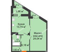 1 комнатная квартира 53,1 м² в ЖК Дом на Провиантской, дом № 12 - планировка