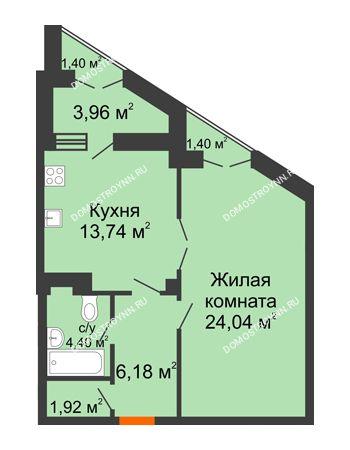 1 комнатная квартира 53,1 м² в ЖК Дом на Провиантской, дом № 12