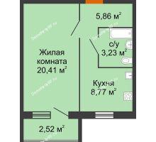 1 комнатная квартира 40,16 м², ЖК Авангарден - планировка