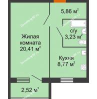 1 комнатная квартира 40,16 м², ЖК Городская 182Б - планировка