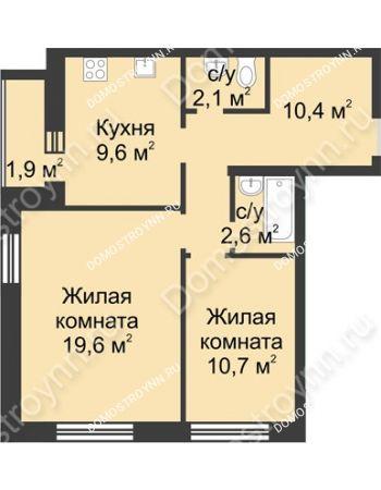 2 комнатная квартира 56,9 м² - ЖК Дом на Иванова