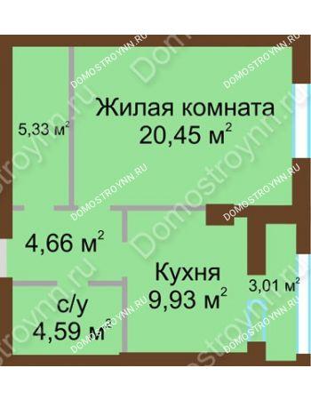 1 комнатная квартира 46,47 м² - ЖК Грани
