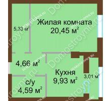 1 комнатная квартира 46,47 м², ЖК Грани - планировка
