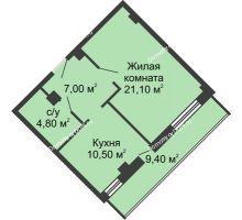 1 комнатная квартира 48,1 м², ЖК Крылья Ростова - планировка