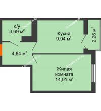 1 комнатная квартира 33,61 м² в ЖК Семейный парк, дом Литер 2 - планировка