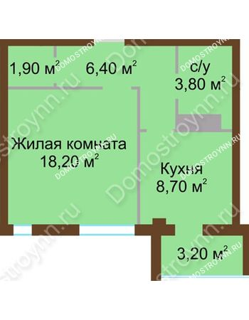 1 комнатная квартира 40,6 м² - ЖК Северный Дворик