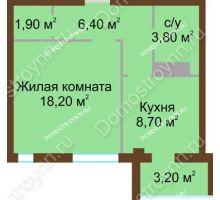 1 комнатная квартира 40,6 м², ЖК Северный Дворик - планировка