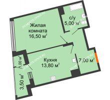 1 комнатная квартира 46,8 м² в ЖК Маршал Град, дом № 3 - планировка