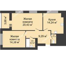 2 комнатная квартира 64,96 м² в ЖК Парк Горького, дом 62/2, №4