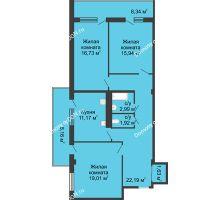 3 комнатная квартира 92 м² в  ЖК РИИЖТский Уют, дом Секция 1-2 - планировка